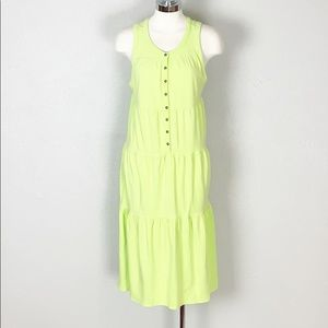 Athleta Drop in Tiered Midi Dress in Lime Green M